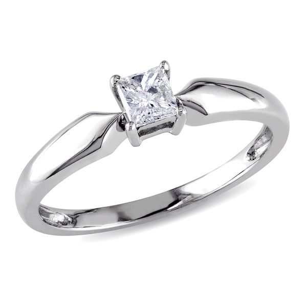 Miadora 10k White Gold 1/4ct TDW Princess-cut Diamond Solitaire Ring