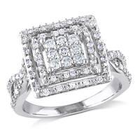 Miadora 10k White Gold 1/2ct TDW Diamond Double Halo Ring