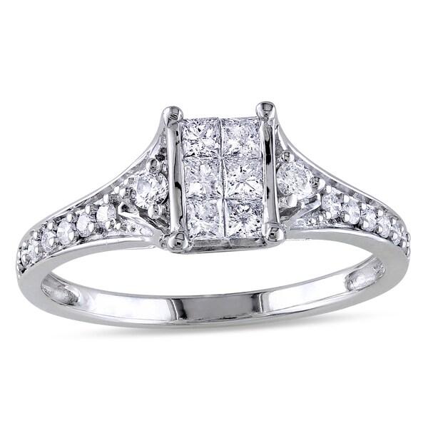 Miadora 10k White Gold 1/2ct TDW Princess-cut Diamond Engagement Ring (G-H, I2-I3)
