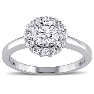 Miadora Signature Collection 14k White Gold 1ct TDW Diamond Halo Engagement Ring