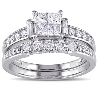 Miadora Signature Collection 10k White Gold 1ct TDW Princess Cut Diamond Bridal Ring Set G H I2 I3