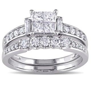 Miadora Signature Collection 10k White Gold 1ct TDW Princess-cut Diamond Bridal Ring Set (G-H, I2-I3 https://ak1.ostkcdn.com/images/products/11350794/P18323851.jpg?_ostk_perf_=percv&impolicy=medium