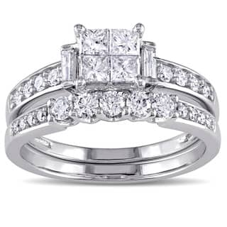 Miadora Signature Collection 10k White Gold 1ct TDW Princess-cut Diamond Bridal Ring Set (G-H, I2-I3|https://ak1.ostkcdn.com/images/products/11350794/P18323851.jpg?impolicy=medium
