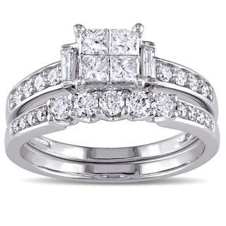 Miadora Signature Collection 10k White Gold 1ct TDW Princess-cut Diamond Bridal Ring Set (G-H, I2-I3