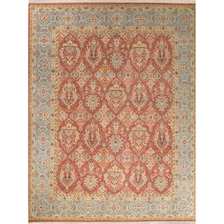 Classic Oriental Pattern Orange/Blue Wool Area Rug (10x14)