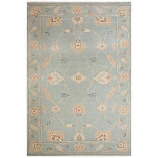 Classic Oriental Pattern Blue/Ivory Wool Area Rug (5x8)
