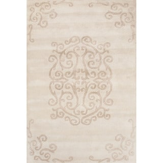 Contemporary Medallion Pattern Ivory/Beige Wool Area Rug (5x8)
