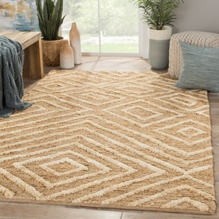 Nikki Chu Naturals Tribal Pattern Natural/Ivory Jute Area Rug (5x8)