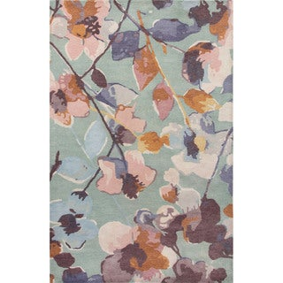 Contemporary Floral & Leaves Pattern Blue/Multi Wool Area Rug (5x8)