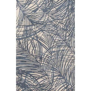 Contemporary Coastal Pattern Blue/Ivory Wool Area Rug (5x8)