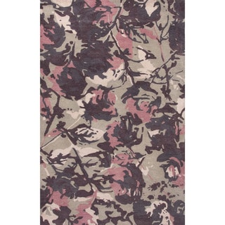 Contemporary Floral & Leaves Pattern Pink/Beige Wool Area Rug (5x8)