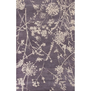 Contemporary Floral & Leaves Pattern Purple/Ivory Wool Area Rug (5x8)