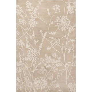 Contemporary Floral & Leaves Pattern Ivory/Beige Wool Area Rug (5x8)