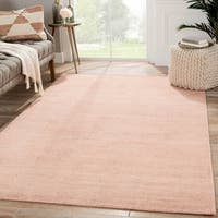 Hand-Knotted Solid Pink Area Rug (5' X 8')