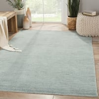 Hand-Knotted Solid Blue Area Rug (5' X 8')