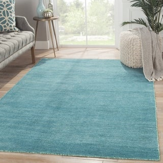 Hand-Knotted Solid Blue Area Rug (5' X 8') - 5' x 8'