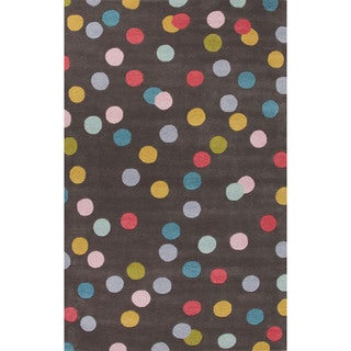 Youth Dots Pattern Gray/Blue Wool Area Rug (5x8)