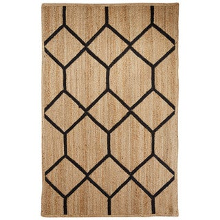 Nikki Chu Naturals Tribal Pattern Natural/Black Jute Area Rug (5x8)