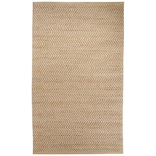 Nikki Chu Naturals Chevrons Pattern Natural/Ivory Jute, Wool & Pu Leather Area Rug (5x8)