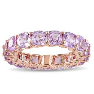 Miadora Signature Collection 14k Rose Gold Cushion-cut Light Pink Sapphire Eternity Ring