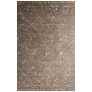Contemporary Tribal Pattern Brown/Taupe Wool and Viscose Area Rug (8x10)