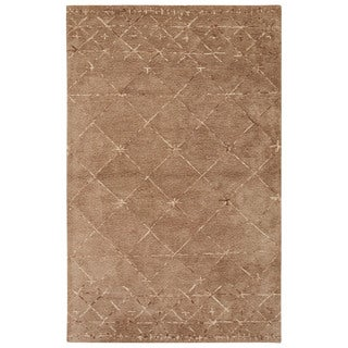 Nikki Chu Contemporary Tribal Pattern Taupe/Ivory Wool and Viscose Area Rug (8x10)