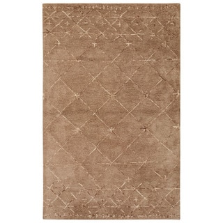 Nikki Chu Contemporary Tribal Pattern Taupe/Ivory Wool and Viscose Area Rug (9x12)
