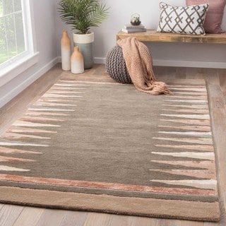 Nikki Chu Contemporary Tribal Pattern Gray/Brown Wool and Viscose Area Rug (9x12)