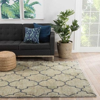Naturals Trellis, Chain And Tile Pattern Blue Jute and Wool Area Rug (9x13)