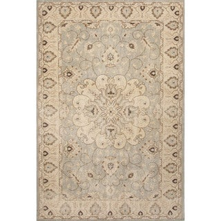 Classic Medallion Pattern Blue/Ivory Wool Area Rug (9x12)