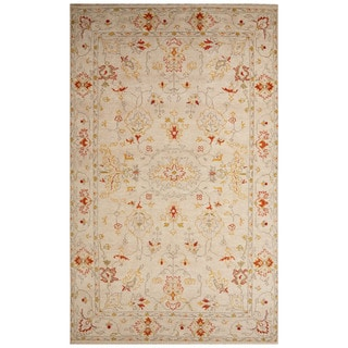 Classic Oriental Pattern Ivory/Red Wool Area Rug (8x10)