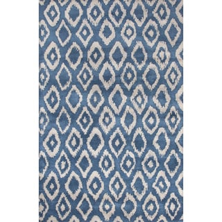 Contemporary Tribal Pattern Blue/Gray Wool Area Rug (8x11)