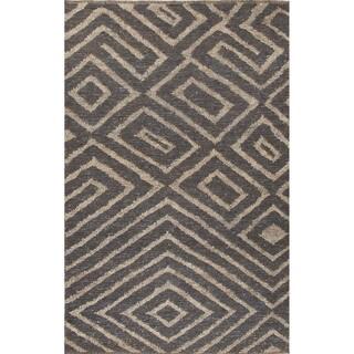 Nikki Chu Naturals Tribal Pattern Gray/Taupe Jute Area Rug (9x12)