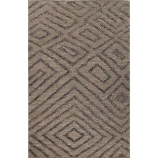 Nikki Chu Naturals Tribal Pattern Gray/Black Jute Area Rug (8x10)