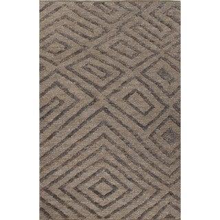 Nikki Chu Naturals Tribal Pattern Gray/Black Jute Area Rug (9x12)