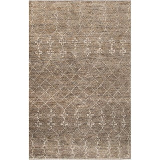 Naturals Tribal Pattern Natural/Gray Jute and Wool Area Rug (8x10)