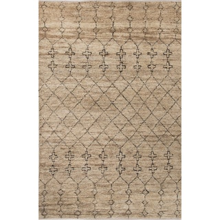 Nikki Chu Naturals Tribal Pattern Natural/Black Jute and Wool Area Rug (8x10)
