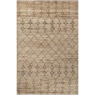 Nikki Chu Naturals Tribal Pattern Natural/Black Jute and Wool Area Rug (9x12)