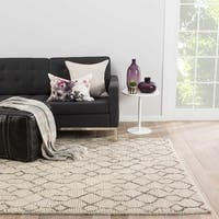 Nikki Chu by Jaipur Living Leda Natural Trellis White/ Gray Area Rug (9' X 12') - 9' x 12'