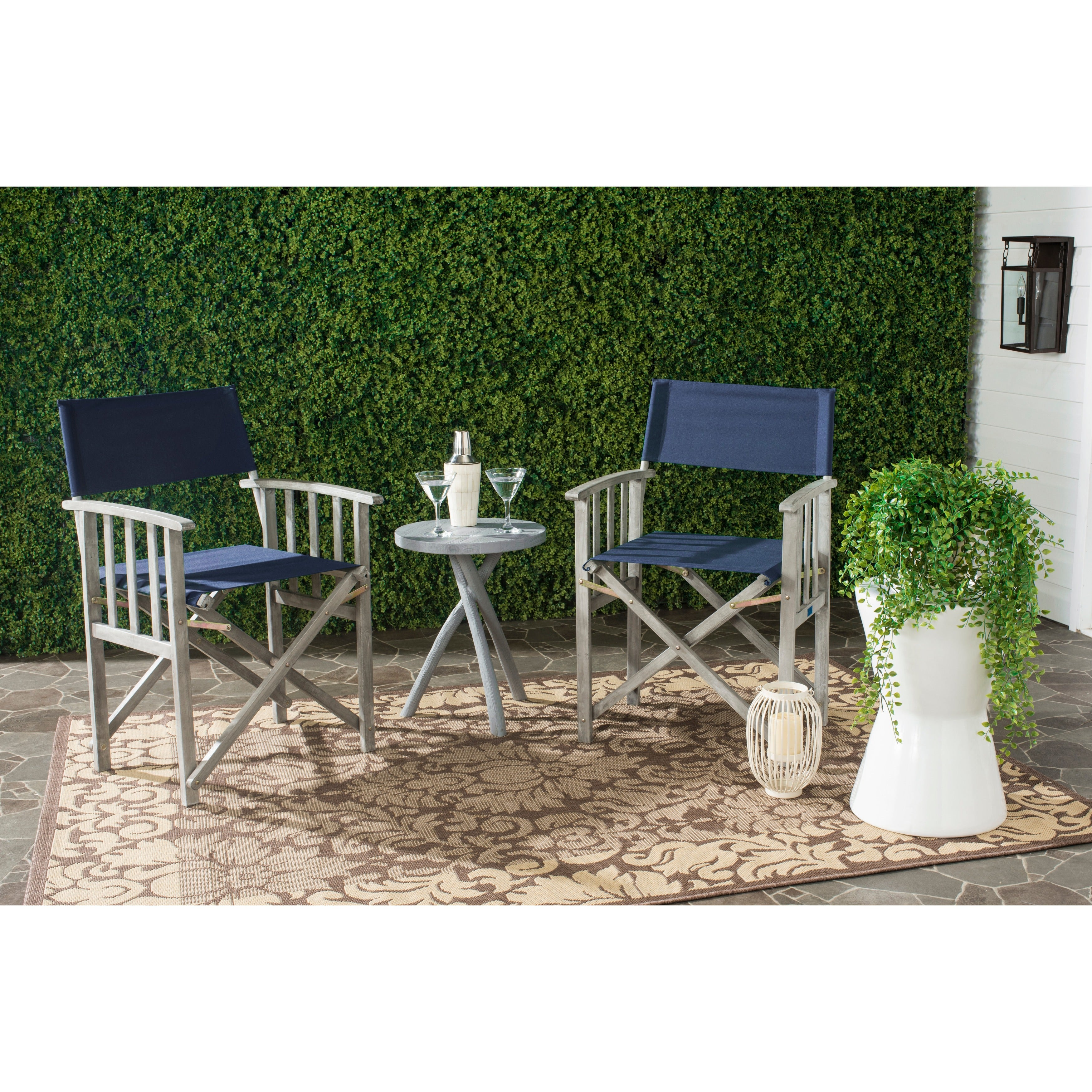 Outstanding Details About Safavieh Outdoor Living Laguna Navy Director Chair Set Of Brown Green 2 Piece Gmtry Best Dining Table And Chair Ideas Images Gmtryco