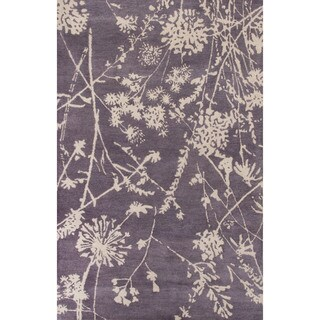 Contemporary Floral & Leaves Pattern Purple/Ivory Wool Area Rug (8x11)