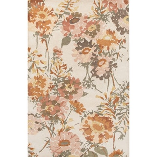 Contemporary Floral & Leaves Pattern Ivory/Orange Wool Area Rug (8x11)