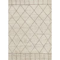 "Hand-Knotted Tribal White Area Rug (9'6"" X 13'6"")"