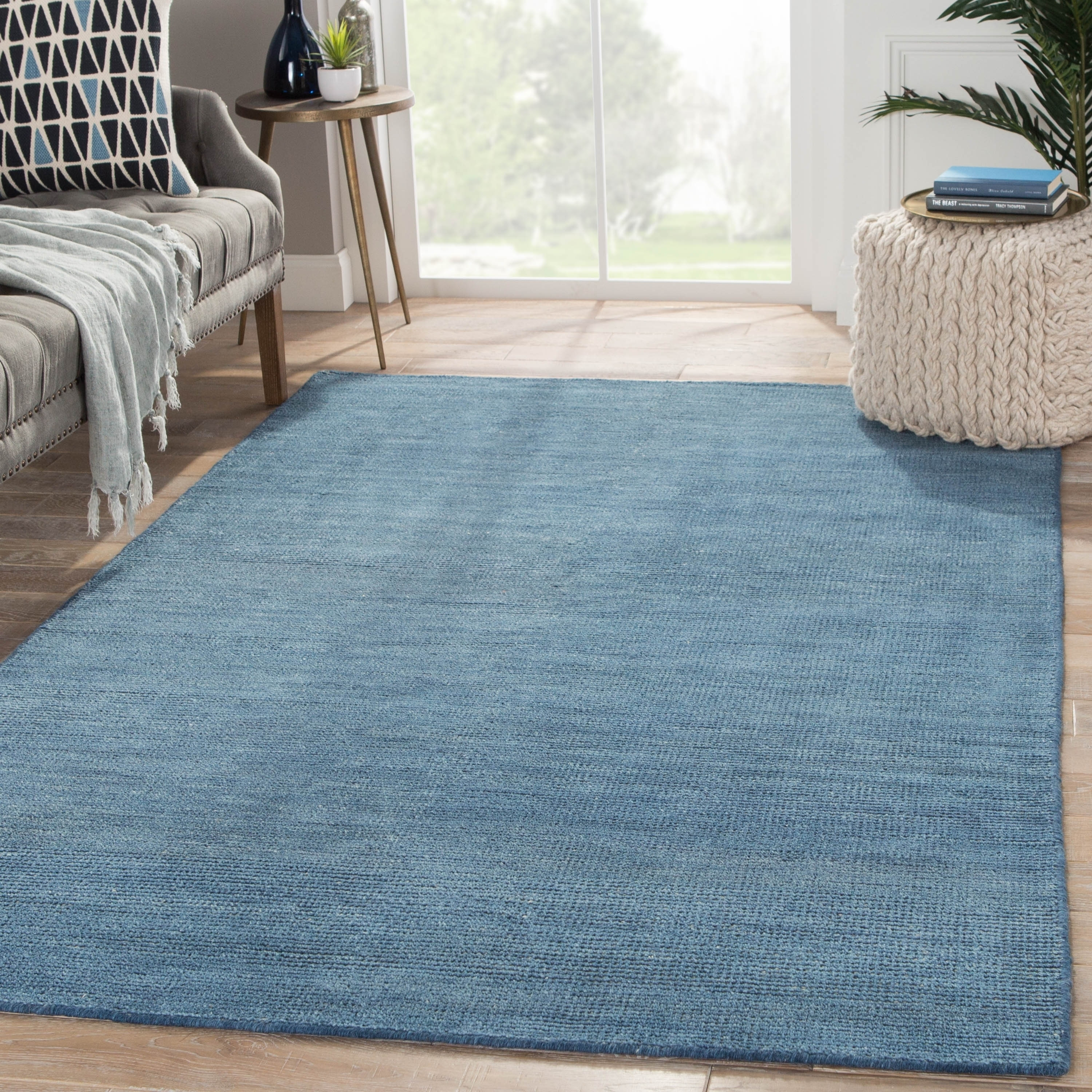 Picture of: Hand Knotted Solid Blue Area Rug 8 X 10 7 10 X 9 10 Overstock 11351023