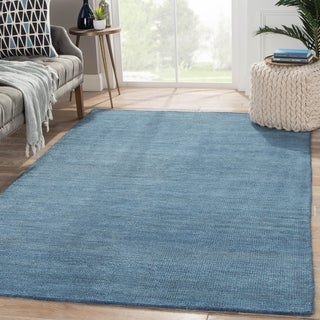 """Hand-Knotted Solid Blue Area Rug (9' X 12') - 8'10"""" x 11'9"""""""