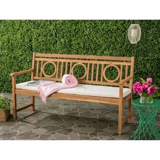 Safavieh Montclair Outdoor Teak Brown/ Beige 3 Seat Bench|https://ak1.ostkcdn.com/images/products/11351033/P18324100.jpg?impolicy=medium