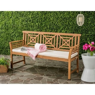 Safavieh Del Outdoor Brown/ Beige Mar 3 Seat Bench