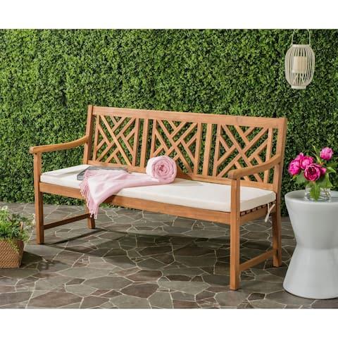 "Safavieh Outdoor Living Bradbury Brown/ Beige 3 Seat Bench - 23.4"" x 60.6"" x 34.7"""