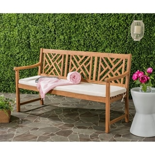 Safavieh Bradbury Outdoor Teak Brown/ Beige 3 Seat Bench