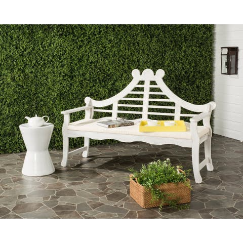"Safavieh Outdoor Living Azusa Antique White Bench - 26.4"" x 62.8"" x 42.5"""